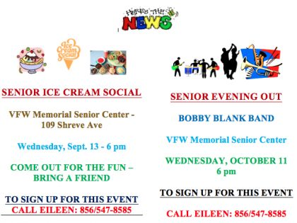 Senior Ice Cream Social Sept. 13 & Night Out Oct. 11