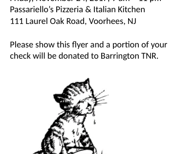 Eat at Passariello's on Fri. Nov. 26 – benefit TNR program