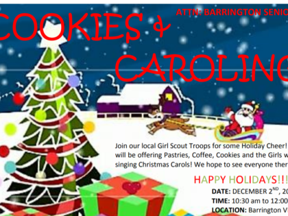 "Dec. 2 ""Cookies and Caroling"" Event for Seniors"